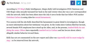 Megan Kelly Sexual Harrassment Claim
